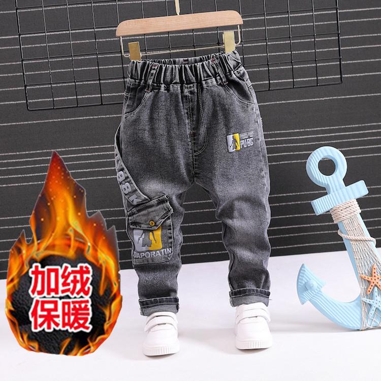 加绒小男童裤秋冬款韩版修身牛仔裤