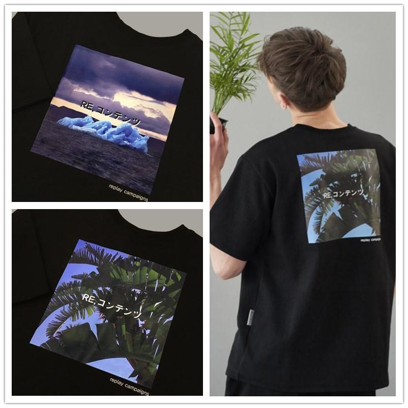 短袖T恤夏季宽松 REPLAY CONTAINER男女经典圆领自然图案芭蕉叶