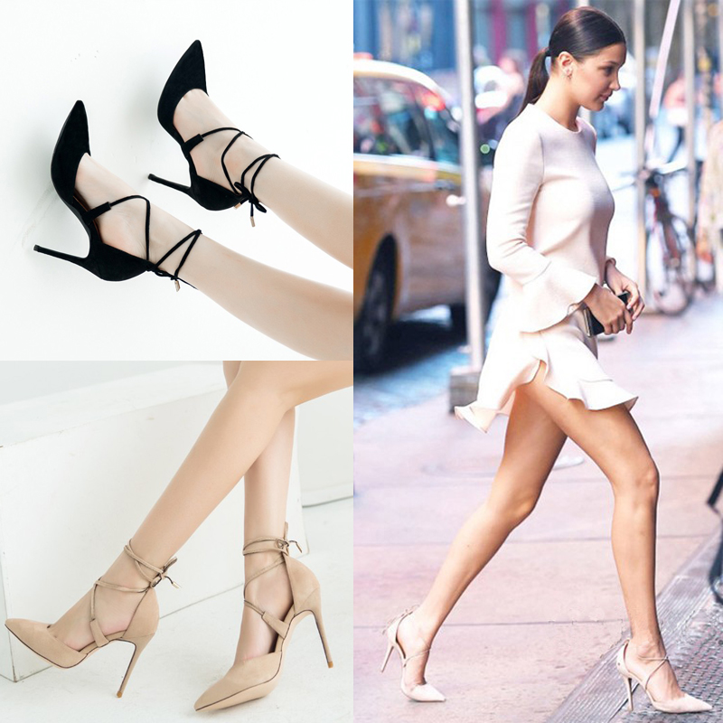 2018 new one line hollow strap sandals womens sexy black suede high heeled shoes pointed thin heeled night club shoes