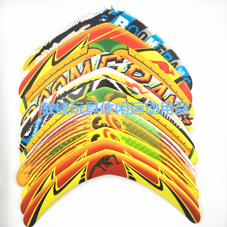 Boomerang returns, V word darts, flying toys, childrens toys, flying saucers, Frisbee, outdoor sports, foam safety.