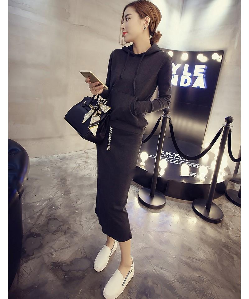 秋季运动休闲套装时尚韩版长袖包臀套裙连帽卫衣分体中长款两件套