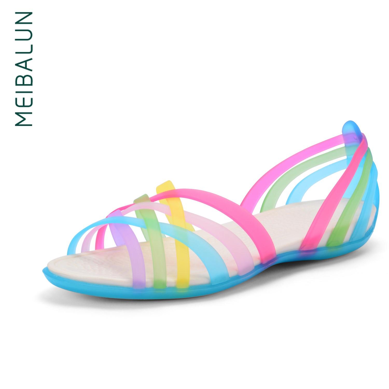 美巴伦夏季洞洞鞋女鱼嘴塑胶凉鞋七彩罗马鞋水晶果冻塑料女沙滩鞋券后60.00元