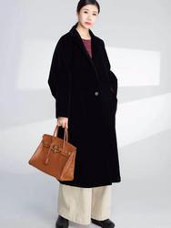 紫布语2020秋季新款休闲时尚宽松大码中长款条绒风衣外套2435