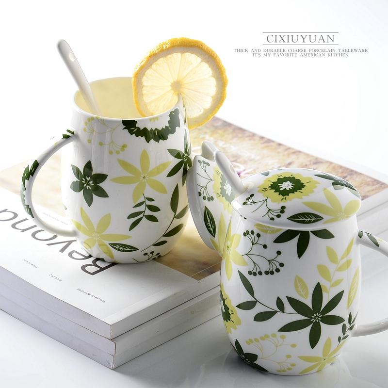 可爱创意 陶瓷杯子 骨瓷杯 马克杯带盖带勺子 水杯咖啡杯奶杯茶杯