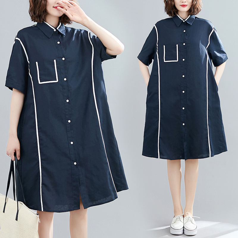 Summer 2020 new loose casual linen with white ribbon large slim short sleeve shirt dress womens fashion