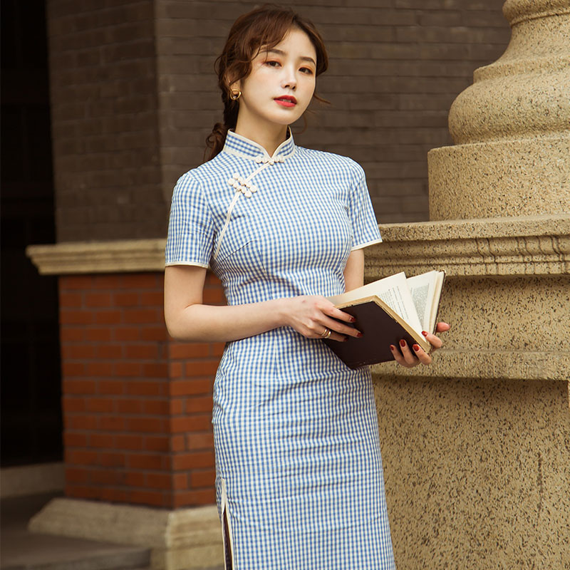 小清新民国老上海修身蓝色格子少女年轻款学院风改良旗袍连衣裙女