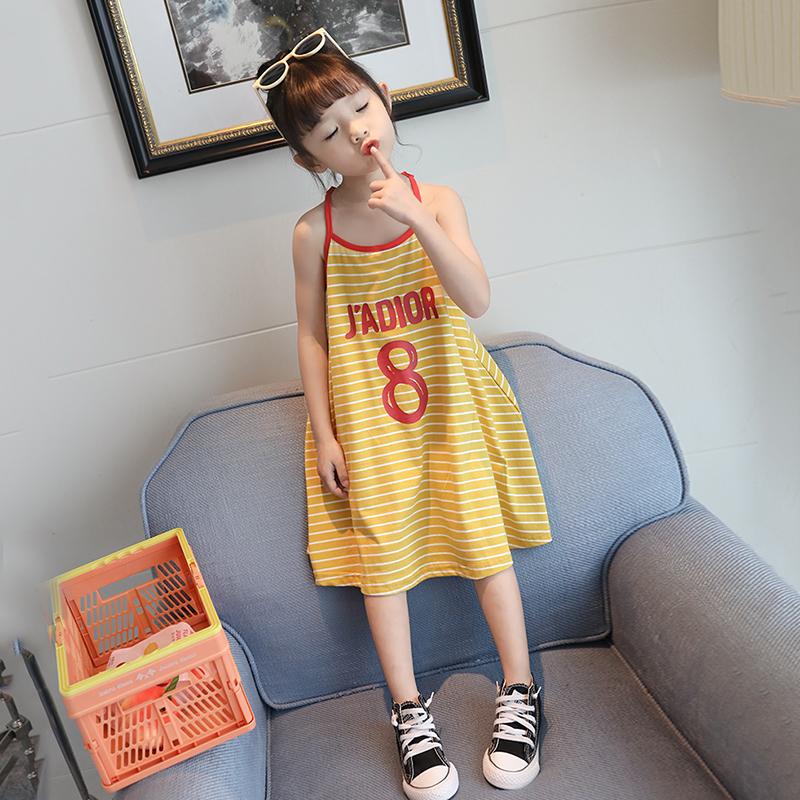 潮童裝吊帶裙女童條紋裙子兒童連衣裙中小童洋氣長裙2019夏裝新款