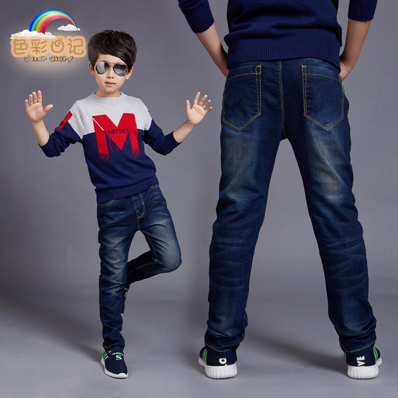兒童純棉加絨中大童牛仔褲