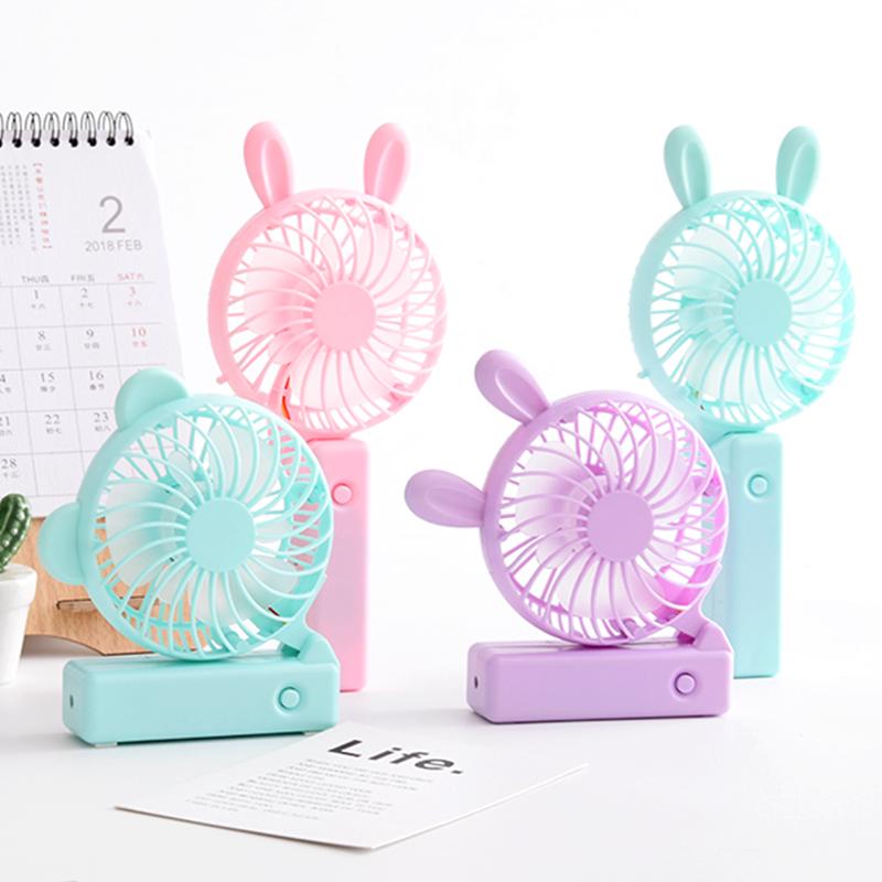 卡通兔耳风扇USB充电手持可折叠风?#20154;?#33293;便携随身迷你小型电风扇