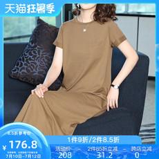 纯棉夏装裙子时尚潮气质显瘦修身长裙简约纯色文艺女装连衣裙夏季