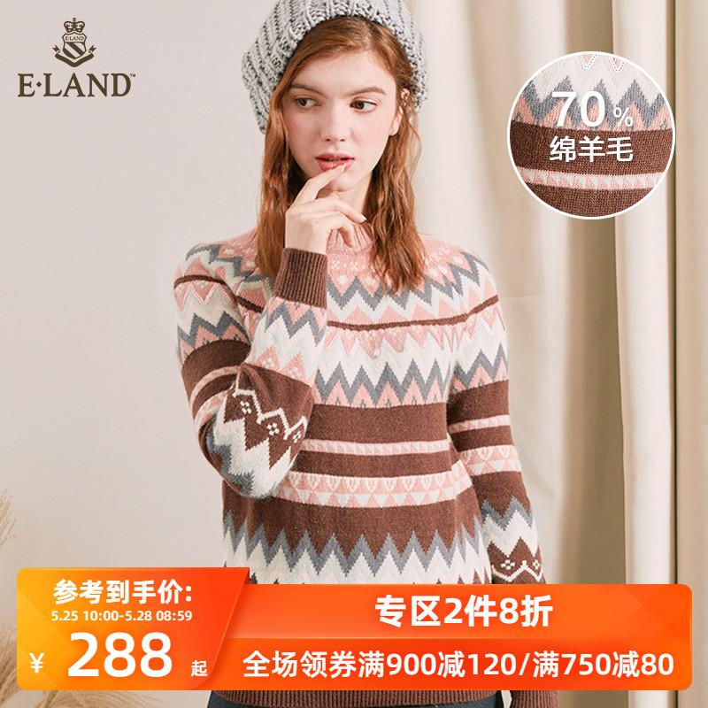 ELAND秋冬减龄撞色几何图形条纹针织毛衣女EEKW84V54A图片