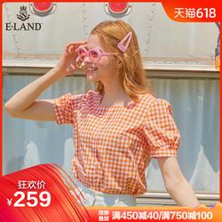 ELAND2019年夏季新款方形领口清新格纹甜美减龄学院风衬衫女