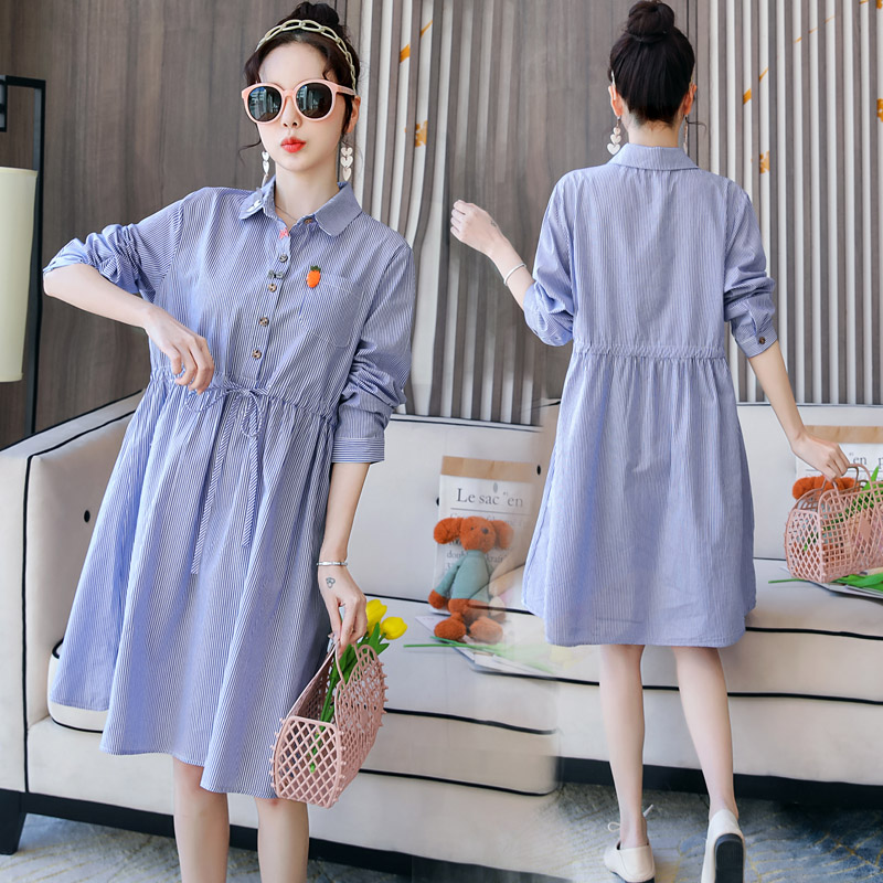 Pregnant womens spring dress 2020 new pregnant lining clothes loose foreign style pregnant womens shirt skirt medium length
