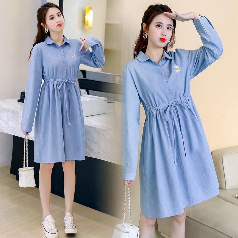 Maternity autumn shirt medium long loose waist long sleeve top denim Korean Work Shirt Dress