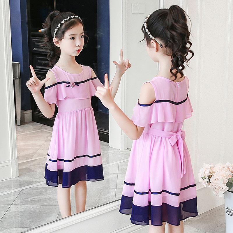 女童夏装2018新款韩版雪纺连衣裙大童12岁小女孩洋气公主裙子夏季
