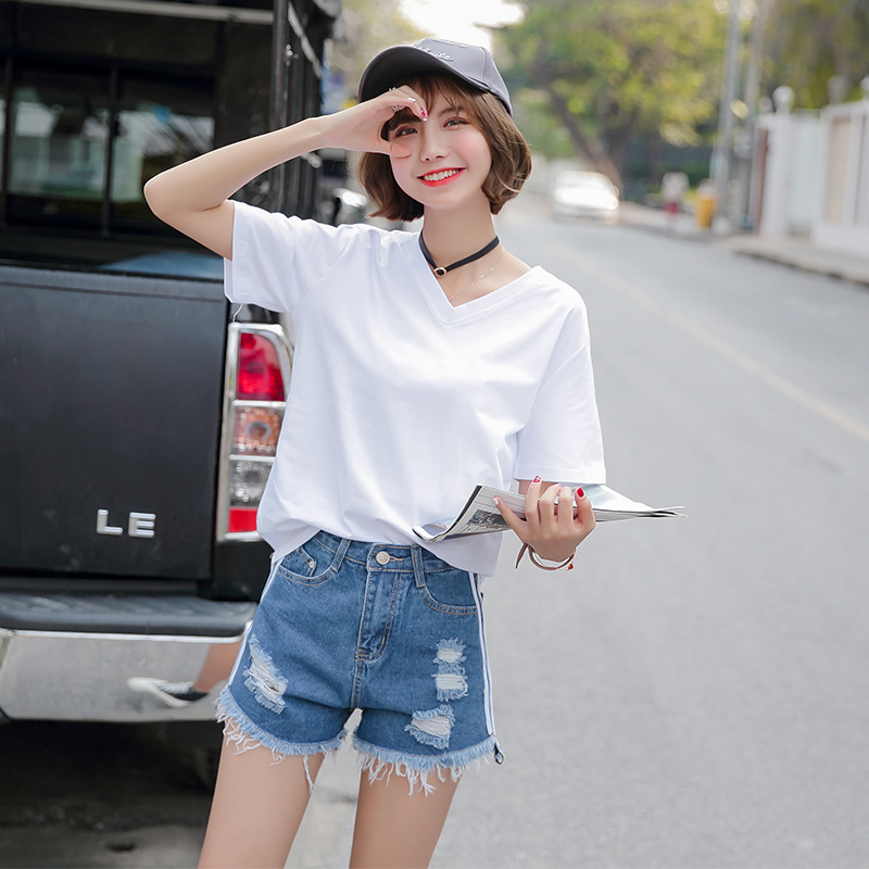 Short sleeve 2020 summer new womens fashion trend cotton T-shirt casual Korean student V-neck top
