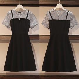 大码女胖妹妹2020夏装新款蕾丝拼接裙子减龄收腰显瘦假两件连衣裙图片
