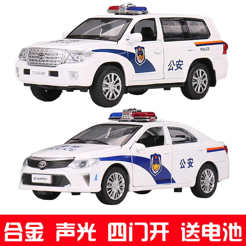 儿童警车汽车模型合金玩具车宝马X6小汽车1:32声光回力警察车男孩