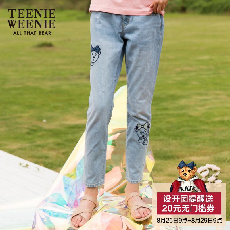 Teenie Weenie小熊2018夏装新款女装刺绣牛仔裤长裤子TTTJ82648K
