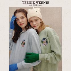 TeenieWeenie小熊加绒卫衣女圆领短款上衣宽松外套2021年秋冬新款