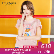 Teenie Weenie Bear 2018 summer new women's short-sleeved printing T-shirt female TTRW86602I