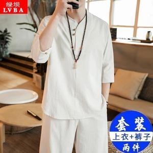中国风两件套夏季短袖套装男士宽松棉麻古装汉服僧服衣服禅服