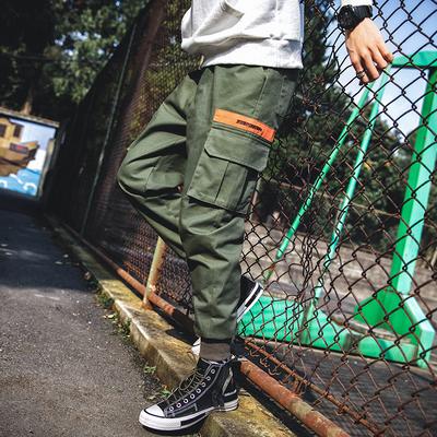 19日系宽松男士束脚裤工装裤大码休闲裤男小脚长裤子K75P55 军绿