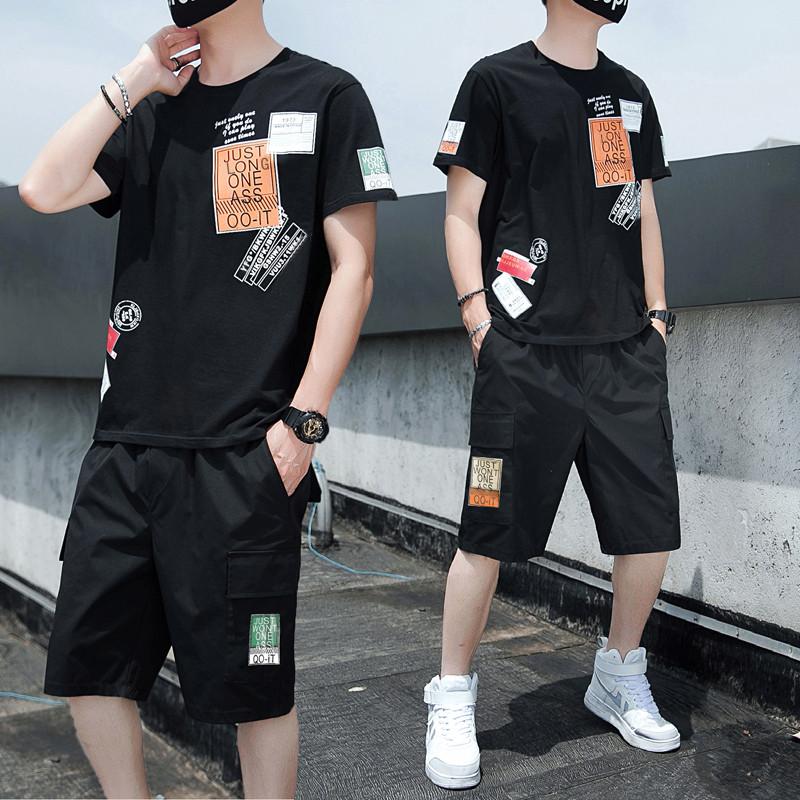 2020夏款大码男休闲运动套装印花短袖短裤潮男 A014-328T-P50
