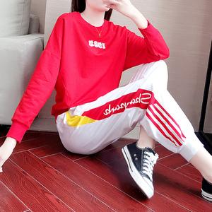 红色卫衣套装女春秋2019新款服装时尚鬼步舞衣服两件套休闲运动服