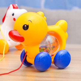 拖拉小鴨子小馬拉線帶搖鈴多功能兒童拉繩小狗寶寶學步牽引玩具圖片