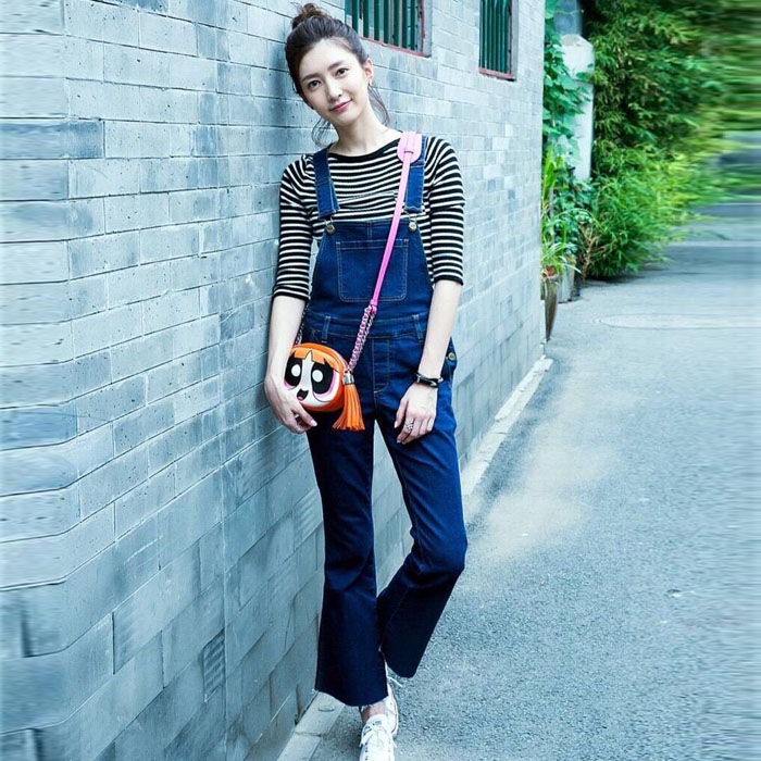 Hello Mr. Jiang Shuying star same style high waist loose denim suspenders flared pants washed Capris female trend