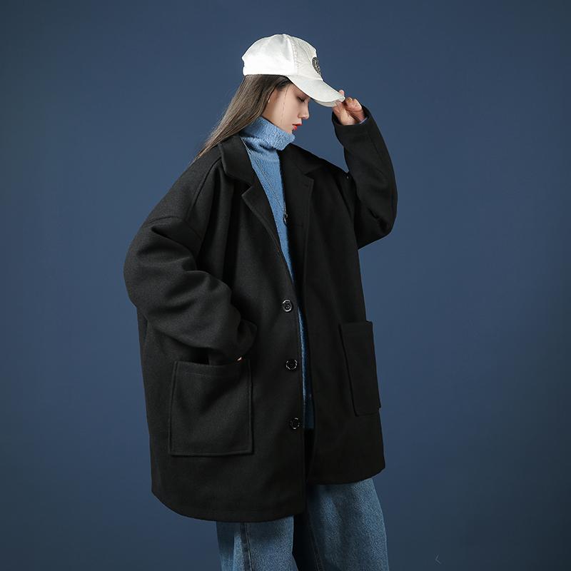 港港风宽松毛呢大衣呢子外套风衣中性女模蓝底D312-KD235-P85