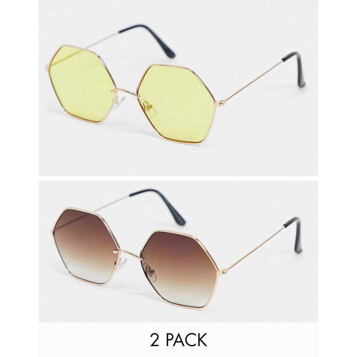 包税代购Svnx女 六边形渐变色棕色太阳眼镜2件套黑色2021新款