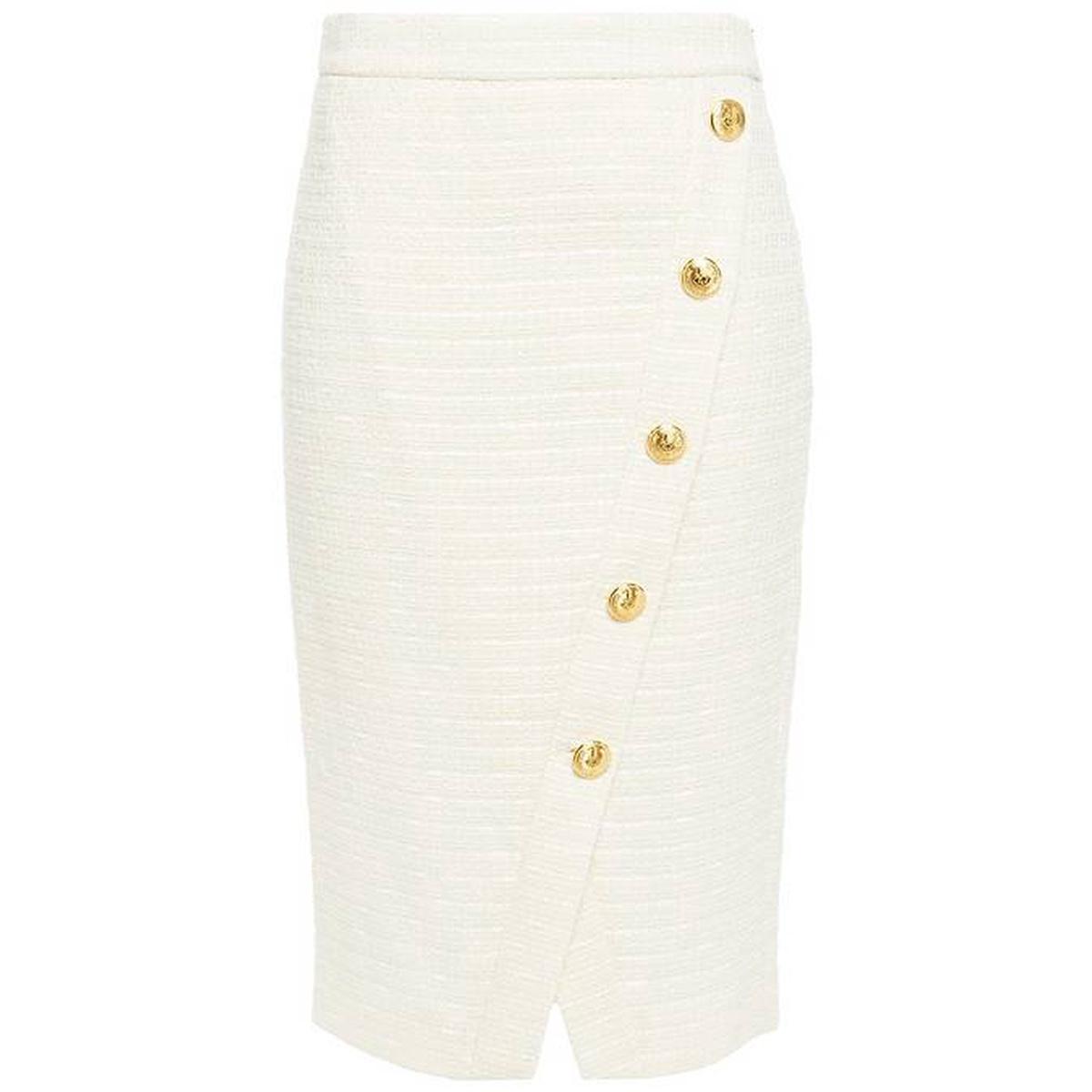 Button decoration tweed pencil skirt 2021 new luxury versatile commuter skirt