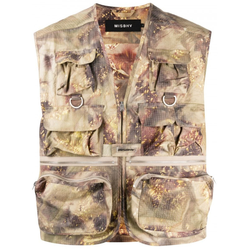 20% off tax on behalf of misbhv mens abstract printing fishermans Vest Jacket jacket jacket jacket