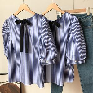 条纹衬衫蝴蝶结中袖轻熟法式气质圆领上衣时尚新款休闲洋气D¥15