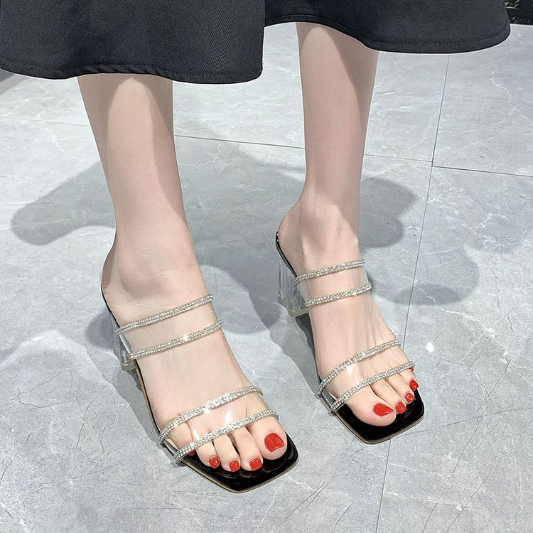 2021 summer new flip flop crystal thick heel high heel rubber water drill transparent sandals square head open toe hollow