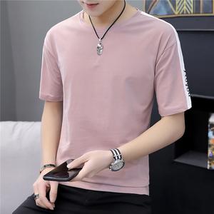 夏季短袖t恤男士韓版寬松體恤學生潮流半袖落肩5五分袖上衣服