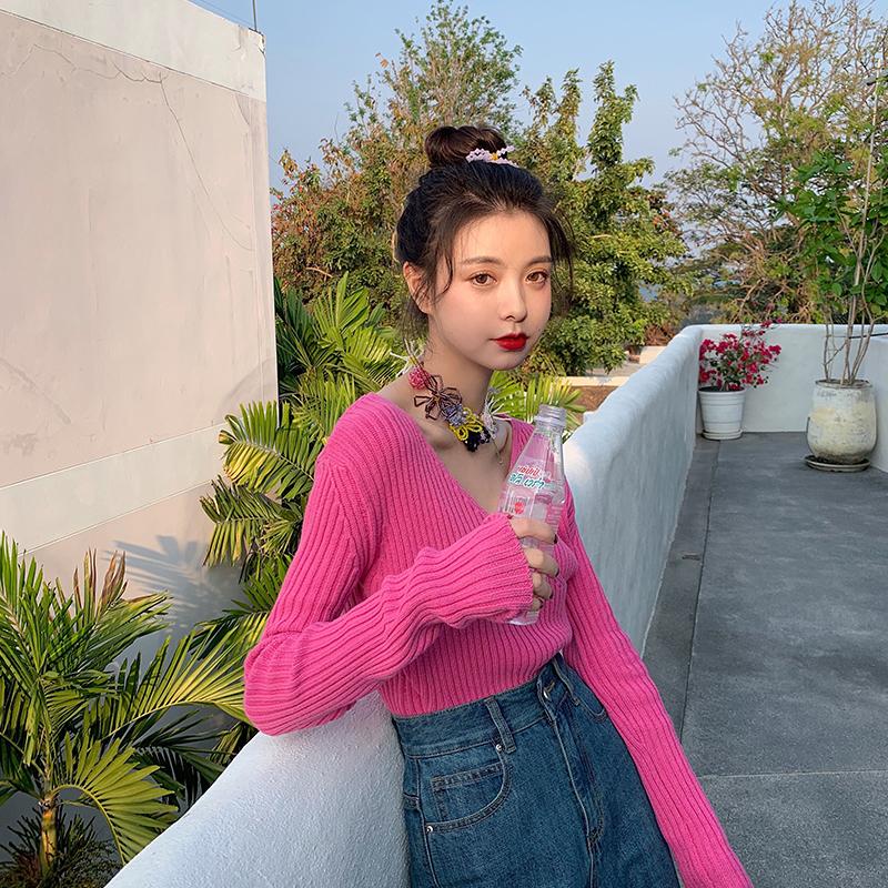 范智乔 v领粉红色针织衫女露锁骨毛衣薄款内搭打底短款上衣服外穿图片