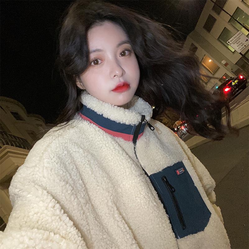 范智乔 立领撞色羊羔毛外套女秋冬颗粒绒复古韩版宽松上衣棉服潮