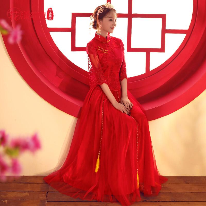秀禾服新娘2018新款春夏婚纱礼服新娘纱裙敬酒服短袖红色婚服秀和