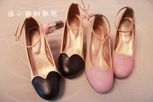 Summer new single shoes FINT Mori Japanese female heart shaped love spell color thick heels shoes