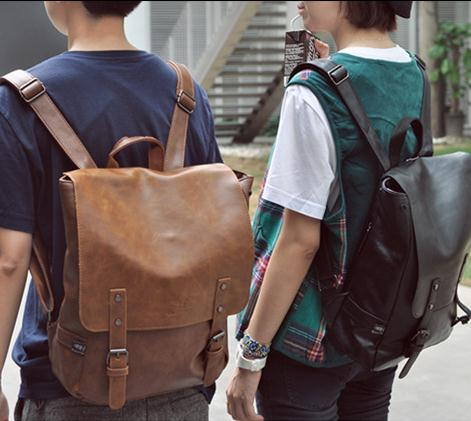 British college style retro backpack for men and women leather trend Japanese and Korean Pu fashion leisure backpack student schoolbag
