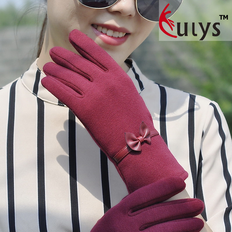 BOW LACE touch gloves for ladies autumn and winter Korean winter lovely warm touch screen riding gloves