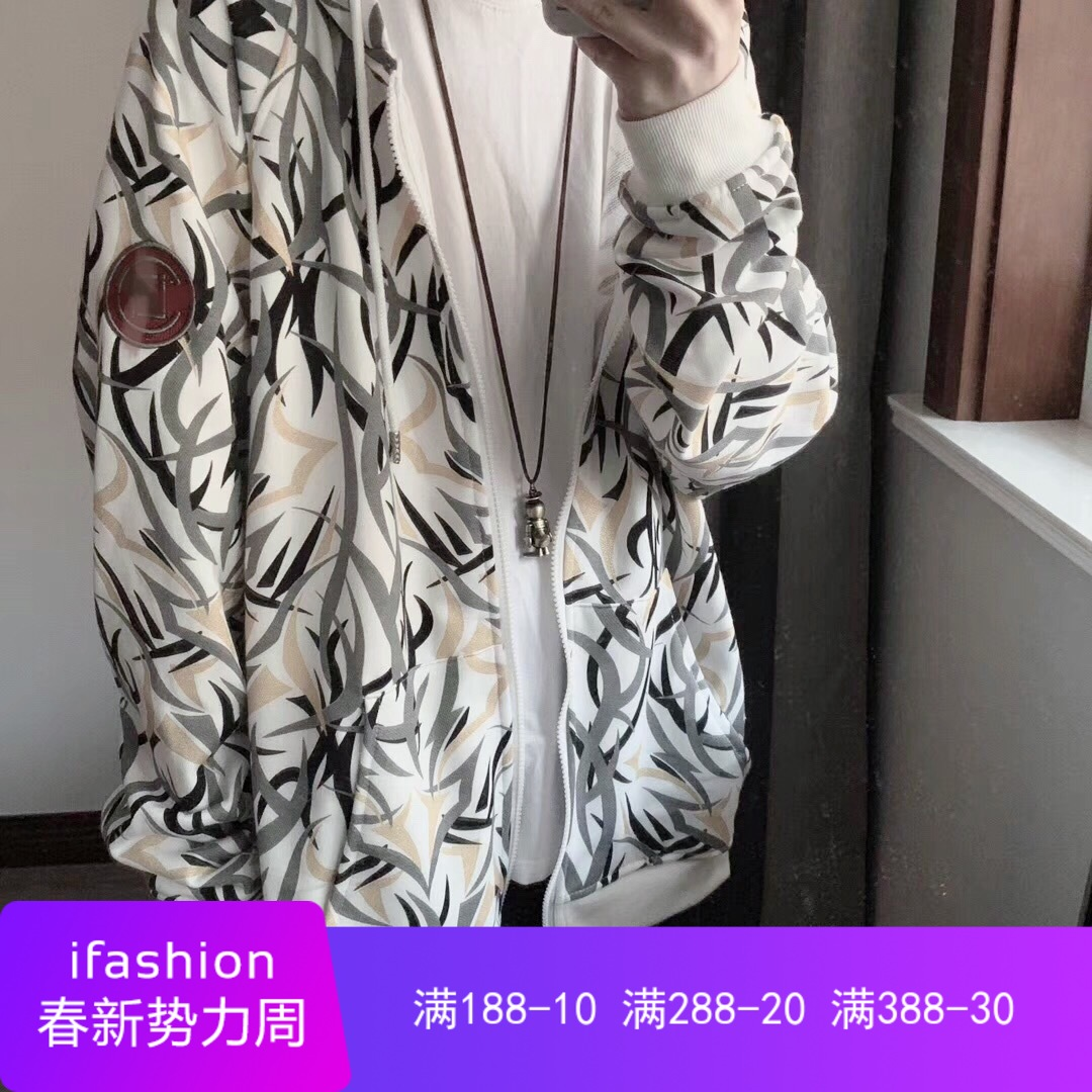 Top player Edison EDC fashion brand full print thorn cotton long sleeve Hooded Sweater mens and womens jackets loose jacket