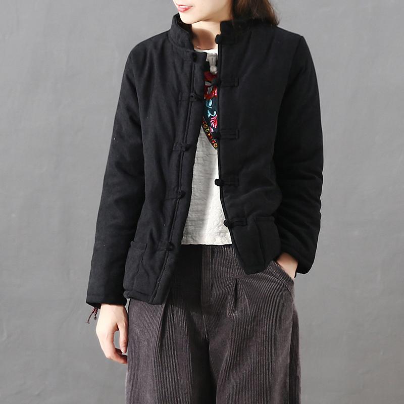 秋冬季中式盘扣复古短款棉衣女加厚加绒加棉保暖棉服女小棉袄女
