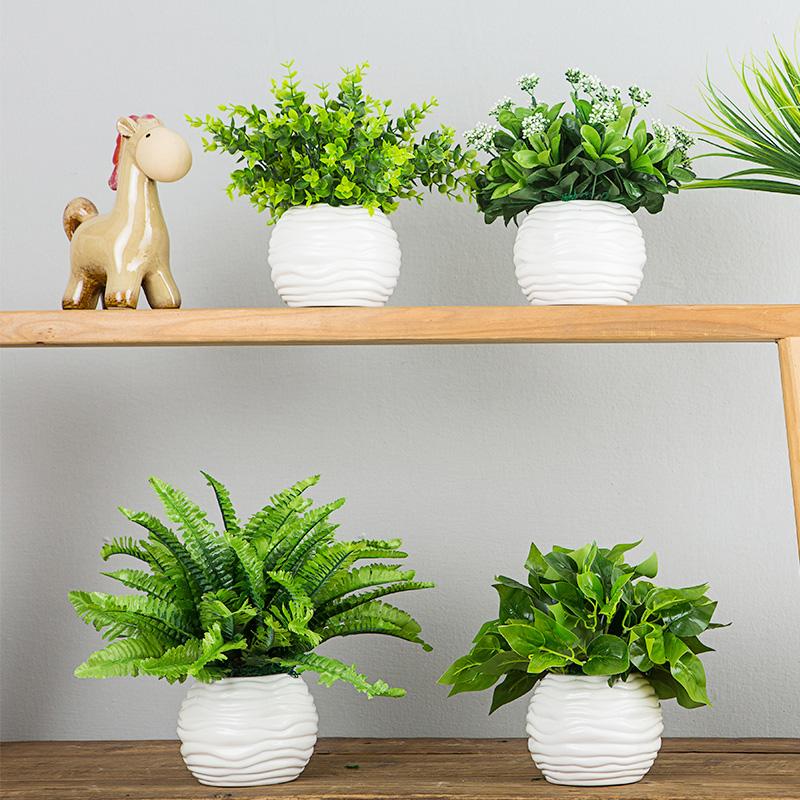 尤加利叶仿真花绿植假花塑料花小盆栽客厅摆设装饰花餐桌室内摆件