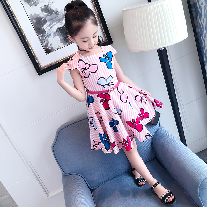 Girls' dress 2020 new summer clothes children's clothing children's air net red little girls' summer princess skirt summer