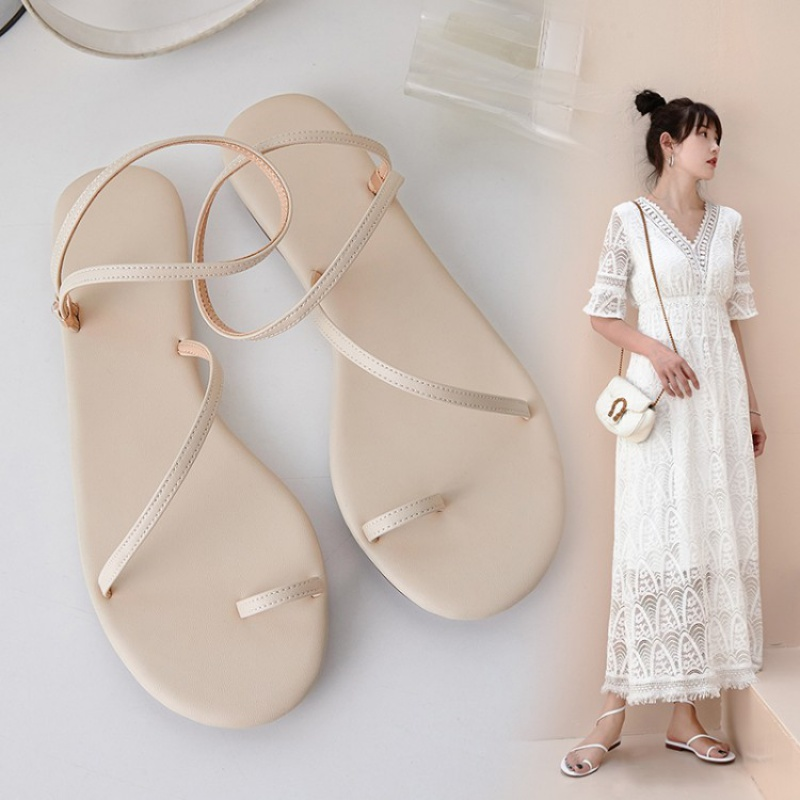 2020 new summer simple fairy style Roman flat bottomed womens fashion shoes