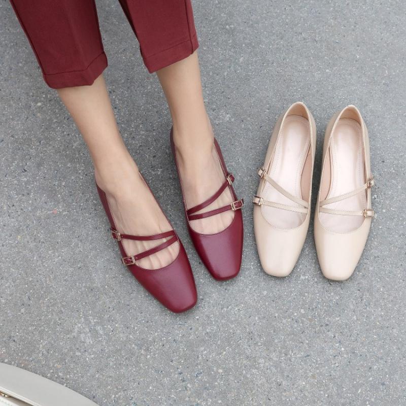2020春款芭蕾舞鞋软皮浅口复古一字扣玛丽珍鞋方头真皮平底单鞋女